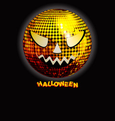 Halloween disco ball with decorative text on black vector