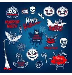 Halloween set drawn Halloween symbols pumpkin vector image vector image
