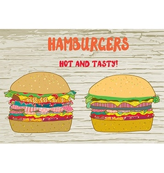 Hamburgers set - on the wood texture vector image
