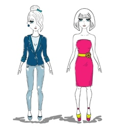 Hand drawn fashion girl woman vector