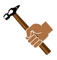 hand holding hammer on a white background vector image
