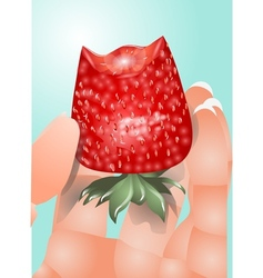 Hand with a strawberry vector
