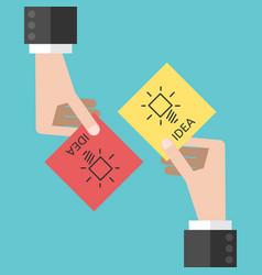 hands sharing ideas vector image