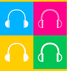 headphones sign four styles of icon vector image