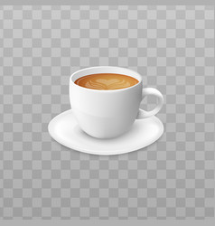 Hot cappuccino coffee in white cup and saucer vector