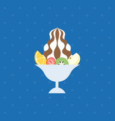 Ice dessert and tropical fruit vector