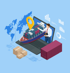 Isometric logistics and delivery sea freight vector