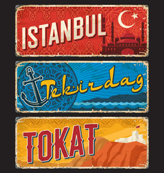 Istanbul tekirdag and tokat turkey il provinces vector