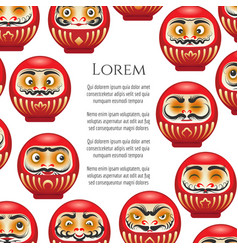 japanese red daruma dolls poster vector image