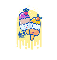 Kawaii smiled ice cream vector