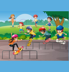 Kids playing different sports in park vector