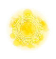 mandala over yellow watercolor fog background vector image