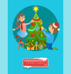 merry christmas boy girl decorate new year tree vector image