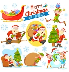 Merry Christmas Holiday design with Santa Calus vector image