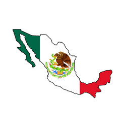 Mexican flag map silhouette vector