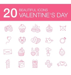modern flat icons for Valentines Day vector image