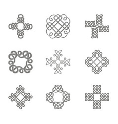 monochrome icon set with celtic art vector image