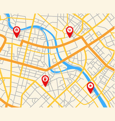 Navigation european city map with pins abstract vector