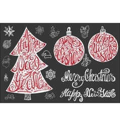 New year letteringChristmas card elements set vector