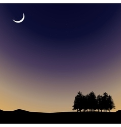Night time sky nature landscape with moon vector