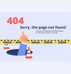 Not found concept 404 error page design with hand vector