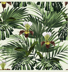 palm leaves and exotic orchid flowers vector image