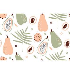 Papaya pattern tropical fruits scandinavian vector