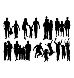 Parent and children happy family silhouettes vector