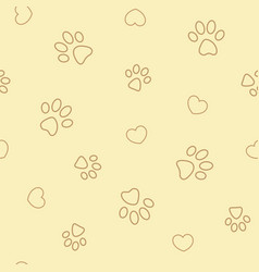 paw prints and hearts on beige seamless pattern vector image
