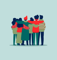 People friend group hug in winter holiday clothes vector