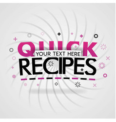 Pink logo for quick recipes for recipe websites vector