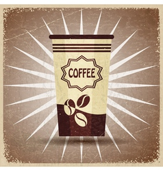Plastic cup of coffee on a vintage background vector image