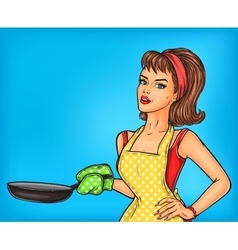 Pop art girl in an apron holding a frying pan vector