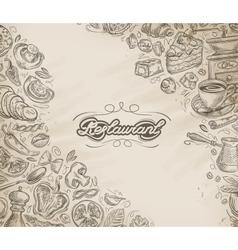 Restaurant cafe menu design template Hand vector