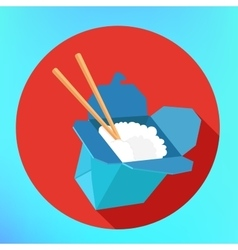 Rice wok carton box chopsticks vector