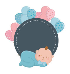 Round frame with basleeping vector