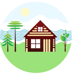 Set icon - blockhouse river different trees vector