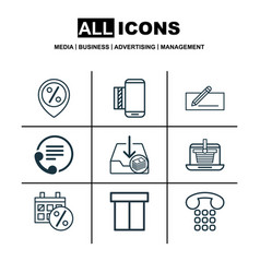 set of 9 commerce icons includes box callcentre vector image