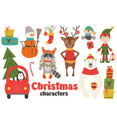 Set of isolated christmas characters part 2 vector