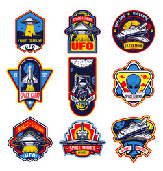 set of vintage space and astronaut badges vector image