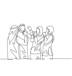 single continuous line drawing young muslim vector image