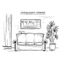 Sketchy interior of living room hand drawing vector