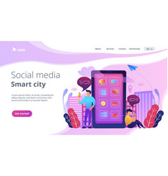 Social media and smart city landing page vector