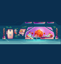 space hotel clients resting in room cartoon vector image