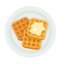 square waffles with butter icon flat isolated vector image