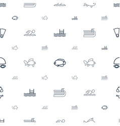 swimming icons pattern seamless white background vector image