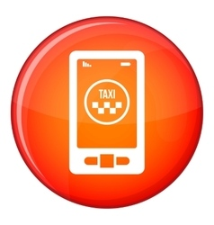 Taxi app in phone icon flat style vector