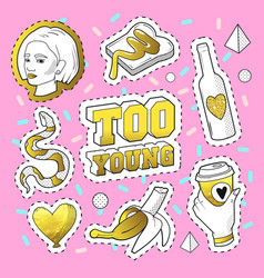 teenager fashion 80s-90s golden badges patches vector image
