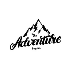 The adventure begins hand written lettering vector