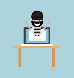 thief from email with laptop vector image